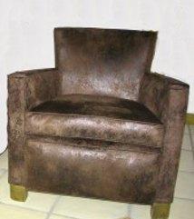 Tissu ameublement fauteuil imitation cuir vieilli lavable doux