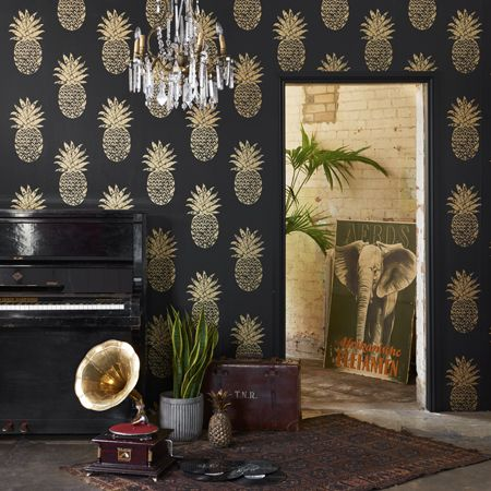 tobago papier peint non tiss intiss fantaisie motif ananas lavable de clarke clarke vendu. Black Bedroom Furniture Sets. Home Design Ideas