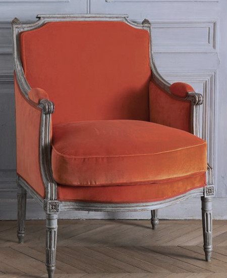 fauteuil bergere orange. Black Bedroom Furniture Sets. Home Design Ideas