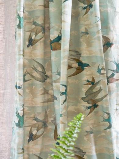 Rideaux Oiseaux chimney swallows tissu ameublement coton imprimé oiseaux pour