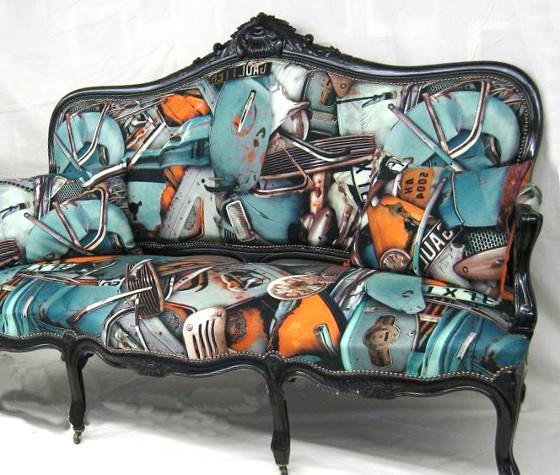 Fangio tissu ameublement imprim lavable jp gaultier pour for Canape jean paul gaultier